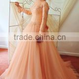 High Quality Beautiful Orange Long Sleeve Beaded Tulle Ball Gown Arabic Wedding Dress Hijab