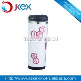 Double wall stainless steel travel mug with paper insert