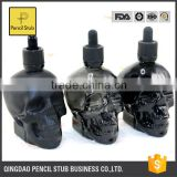 trade assurance 30ml 60ml 120ml skull head glass eliquid dropper bottle,bottle skull with child dropper