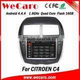 Newest Android 4.4.4 navigation system 2 din car dvd player for citroen c4 radio gps 1080p