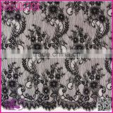 Factory Sale Non-elastic 150*300cm Flower Wide Black Ladies Fashion Dress garment accessory lace wedding dresses