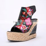 New Fashion embroidery flowers open toe straw flax hook&loop elegant wedge heel thick sole shoes                                                                         Quality Choice