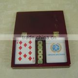 wooden box poker set two cards