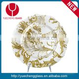 New design Wedding Catering Gold Colored Beaded Glass Charger Plate Wholesale                                                                         Quality Choice