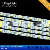 Edgelight hot sale 3528 warm white flexible smd led strip, Led light bar 12V aluminous PCB Strip