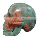 Wholesale Natural Semi-precious Stone Carvings Hand Carved Natural African blood stone Skull /Skeleton