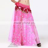 Shining Sequin and Rose Pattern hot pink lady Long Skirt Belly Dance