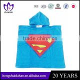 high quality 100%cotton hooded poncho beach towels for kids child bath towel China supplier wholesaler