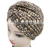 Turban Head Wrap Band headband Hat Cap Chemo Bandana leopard brown