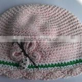 Goregous Corcheted Butterfly Cotton Baby Girl's Beanie
