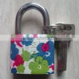 2014 fashion letter printed Heavy duty arc type Pattern printing iron padlock with safety atomic key
