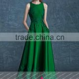 GQ27 sleeveless high neck floor length green vestido de festa