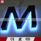 CE certified store front sign led alphabet letter stainless steel led backlit letter sign