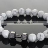 Natural Stone Unisex White Turquoise Stone Barbell Jewelry Bead Bracelet Women Fitness Prayer Dumbbell Bracelets For Men