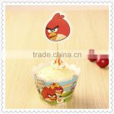 Wholesale cupcake inserts angry birds themed toppers for kids birthday
