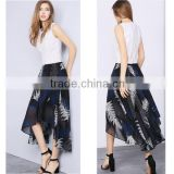 China manufacturer customized latest long skirt design pictures short front long back ladies asymmetrical printed chiffon skirt