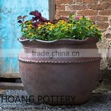 Wave Round Black Clay Pots
