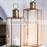 home decorative glass candle holder lantern,copper lantern
