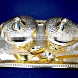 Indian wedding gift, wholesale low price return gift gold plated brass bowls and tray set