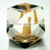 Promotional item transparent glass acrylic paperweight