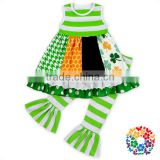 2017 New Designs Kids St.Patrick's Day Ruffle Pants Clothes Set Striped Baby Girls Boutique Outfits Toddler Girl Spring Outfits