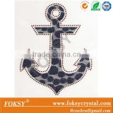 Custom design anchor embroidery with rhinestone heat transfer, laser cut anchor rhnestone with hotfix lace design