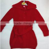 In-stock new fashion salior collar long sleeve belt knitted girls cardigan