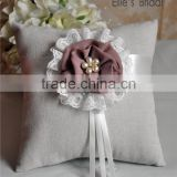 2015 fashion ivory burlap wedding flower ring pillows ribbon decorated pillow rings bridal