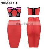 fashion oem two pieces sexy mini dresses one pieces body con bandage ladies dinner dresses