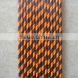 19.7*0.6cm biodegradable orange and black stripped paper milkshake straws