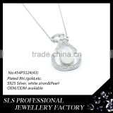 Latest design of pearl pendant silver jewelry pearl pendant wholesale fashion doll pendant necklace