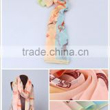 100% silk artificial flowers, cashmere scarf