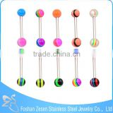 316L Stainless Steel Barbell Rainbow UV Double Ball Tongue Piercing
