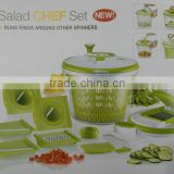 NEW Multi-functional Plastic mixed salad making kitchen vegetable salad spinner slicer and chopper food water processor