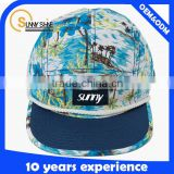 Wholesale Cheap Floral Design Your Own Suede Blank 5 Panel Hat Cap With Leather Patch