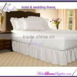 white hotel bed skirt with shirring pleats, fitted bed skirt, white bed skirts