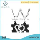 Couples necklace with puzzles ,black and silver broken heart pendant necklace for lover gifts