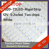 7020 72LEDs 0.2W/LED Rigid LED LIGHTING STRIP White DC12V Super Bright Two Chip Non-waterproof 12mm Width PCB High Quality