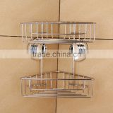 2 tiers suction cup stainless steel mesh bathroom corner shower caddy