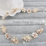 New arrival hair jewlery gold leaves flower alloy braided headbands                                                                         Quality Choice