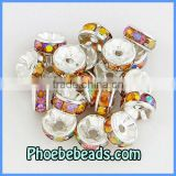 Wholesale 8mm Basketball Wives Earrings Spacers Beads Cheap Amber Iridescent Rondelle Metal Pave Acrylic Crystal RRS-B007A