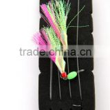 high quality fishing rig flasher sabiki hook luminous wing glow bead 2hooks yellow and pink flasher