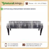 Quality Assured Tough Material Made Cotton Rug Upholstered Wooden Bench for Sale