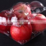 food grade PET biodegradable transparent apple fruit shape plastic container with 4 dividers
