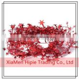 Hot sale Glittering Red Star Wire Foil Tinsel Garland Party Christmas Tree Decoration