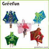 Whosale Top Quality Fabulous Cute Animal Design Poncho towel hooded towel bath towel cover up
