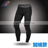 Men's basketball pro sports tight pants warm winter running fitness pants nine minutes speed dry Pants Plus velvet