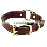 Full grain brown cowhide leather pet collars fashion puppy leather dog collars and leash