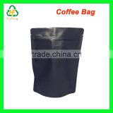 High Barrier Stand Up Foil Coffee Bags Pouches w/ Valve, Matte Black