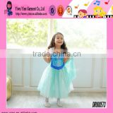 Fashion Sky Blue Princess Lace Dress Hot Custom Show Neck Evening Short Frozen Elsa Dress